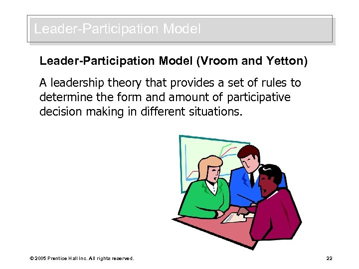 Leader-Participation Model (Vroom and Yetton) A leadership theory that provides a set of rules