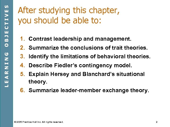 OBJECTIVES LEARNING After studying this chapter, you should be able to: 1. Contrast leadership