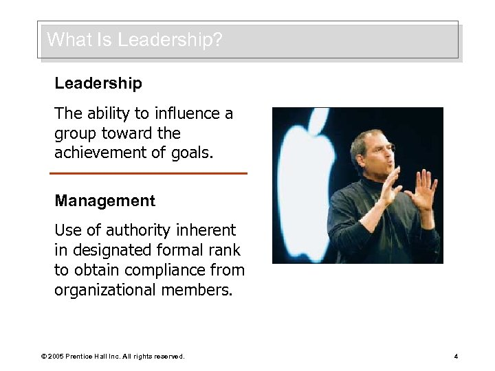 What Is Leadership? Leadership The ability to influence a group toward the achievement of