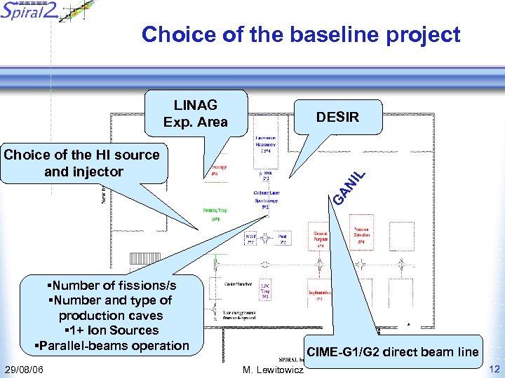 Choice of the baseline project LINAG Exp. Area DESIR Road GA N IL Choice
