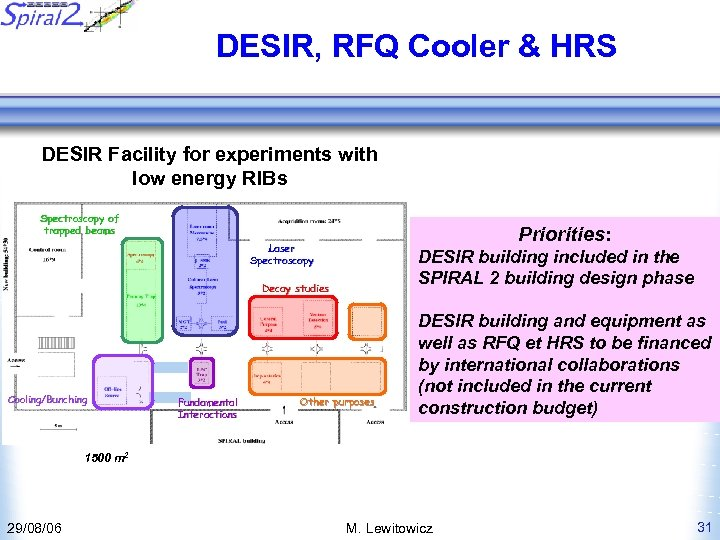 DESIR, RFQ Cooler & HRS DESIR Facility for experiments with low energy RIBs Spectroscopy