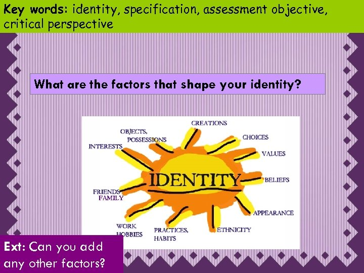 various factors that shape identity People construct their identity through internal processes or by belonging to a group, and combined with a person's preference to a type of control, they can be defined by four distinct identity types: leader, follower, independent and drifter in the general field of social sciences, identity can.