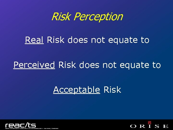 Risk Perception Real Risk does not equate to Perceived Risk does not equate to