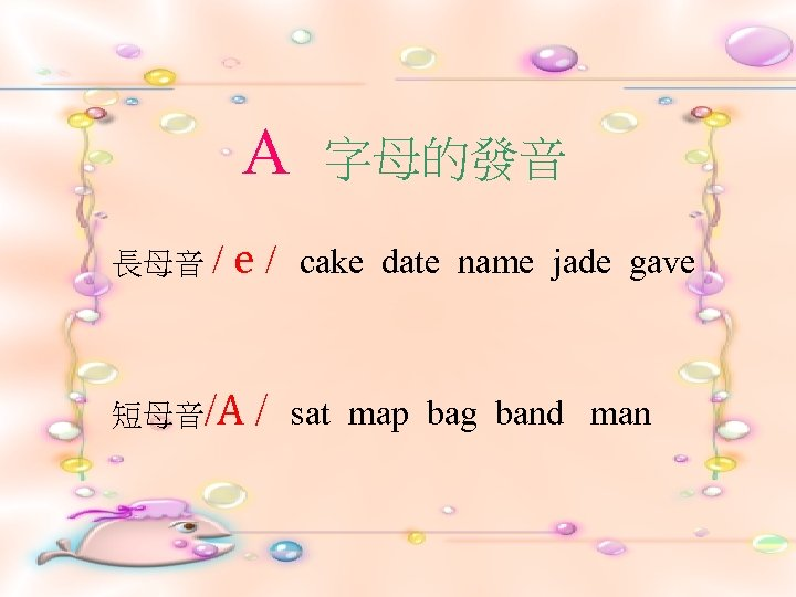 A 長母音 / e/ 短母音/A / 字母的發音 cake date name jade gave sat map