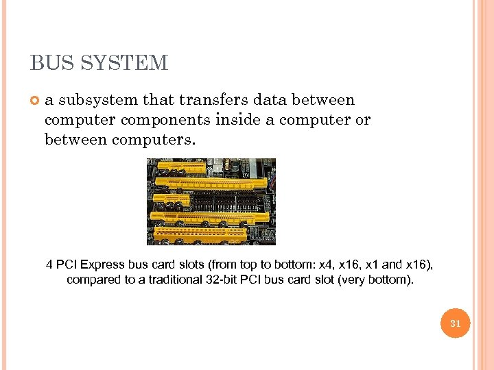BUS SYSTEM a subsystem that transfers data between computer components inside a computer or