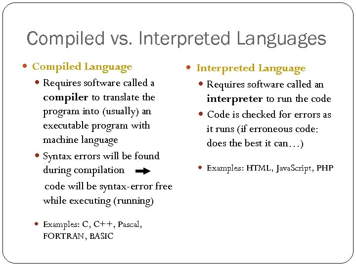 Compiled vs. Interpreted Languages Compiled Language Requires software called a compiler to translate the