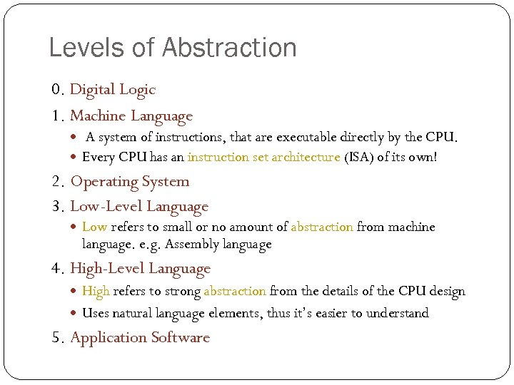 Levels of Abstraction 0. Digital Logic 1. Machine Language A system of instructions, that