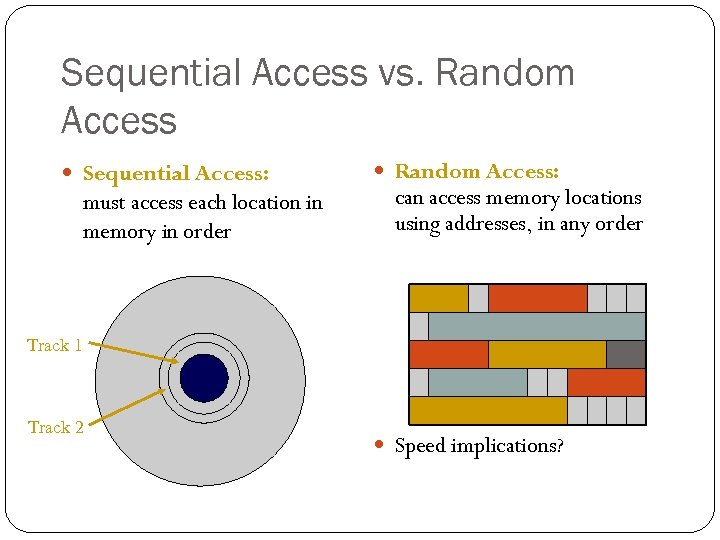 Sequential Access vs. Random Access Sequential Access: must access each location in memory in
