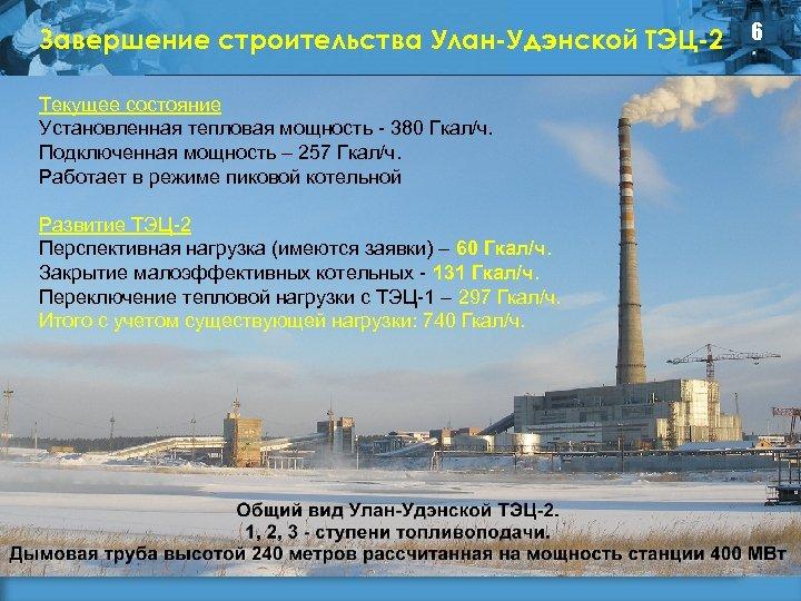 Завершение строительства Улан-Удэнской ТЭЦ-2 Текущее состояние Установленная тепловая мощность - 380 Гкал/ч. Подключенная мощность