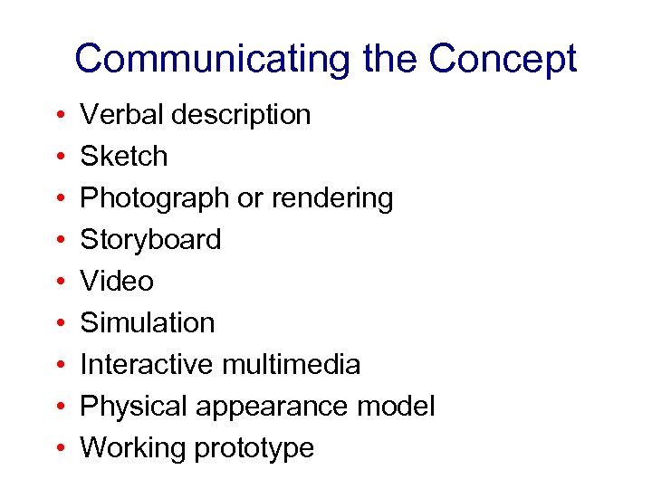 Communicating the Concept • • • Verbal description Sketch Photograph or rendering Storyboard Video