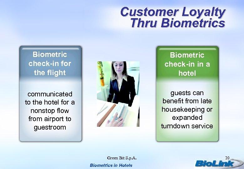 Customer Loyalty Thru Biometrics Biometric check-in for the flight Biometric check-in in a hotel