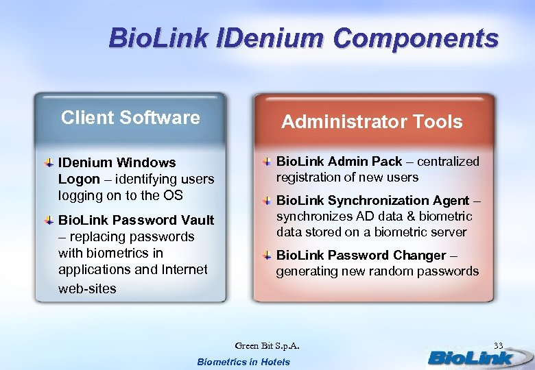 Bio. Link IDenium Components Client Software IDenium Windows Logon – identifying users logging on