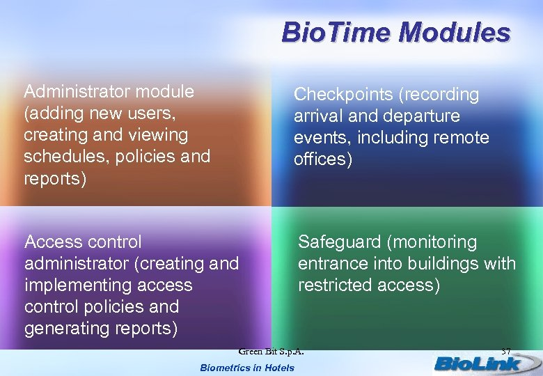 Bio. Time Modules Administrator module (adding new users, creating and viewing schedules, policies and