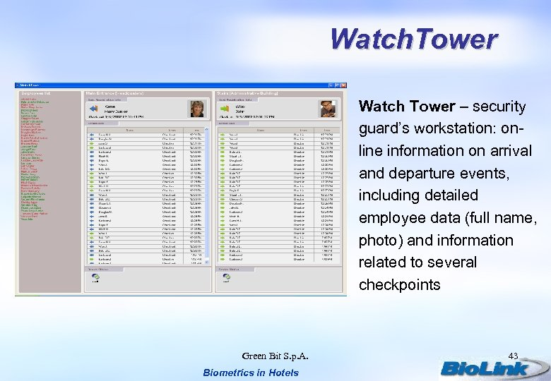 Watch. Tower Watch Tower – security guard's workstation: online information on arrival and departure