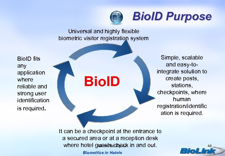 Bio. ID Purpose Universal and highly flexible biometric visitor registration system Bio. ID fits