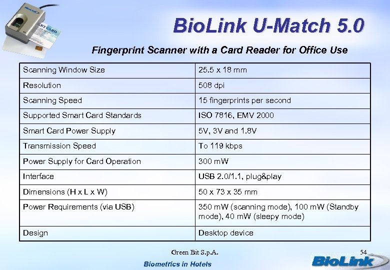 Bio. Link U-Match 5. 0 Fingerprint Scanner with a Card Reader for Office Use
