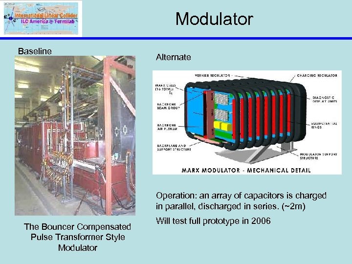 Modulator Baseline Alternate Operation: an array of capacitors is charged in parallel, discharged in