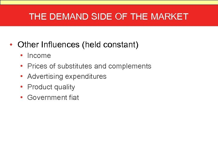 THE DEMAND SIDE OF THE MARKET • Other Influences (held constant) • • •