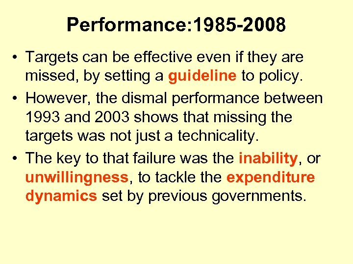 Performance: 1985 -2008 • Targets can be effective even if they are missed, by