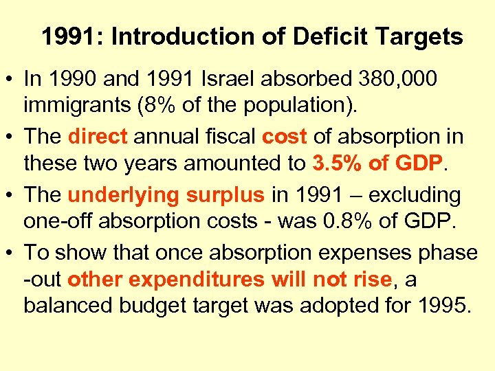 1991: Introduction of Deficit Targets • In 1990 and 1991 Israel absorbed 380, 000