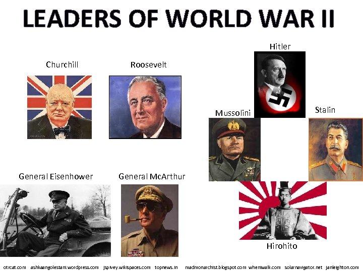 LEADERS OF WORLD WAR II Hitler Churchill Roosevelt Stalin Mussolini General Eisenhower General Mc.