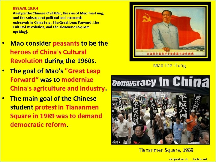 HSS. WH. 10. 9. 4 Analyze the Chinese Civil War, the rise of Mao