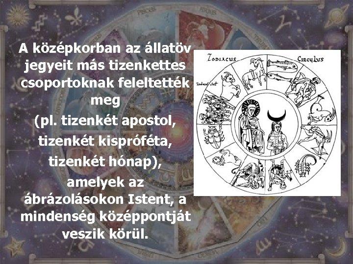 A középkorban az állatöv jegyeit más tizenkettes csoportoknak feleltették meg (pl. tizenkét apostol, tizenkét