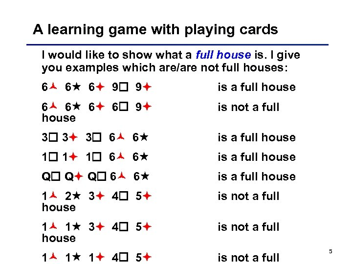 A learning game with playing cards I would like to show what a full