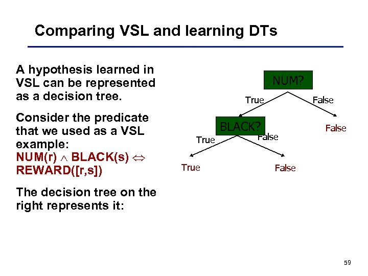 Comparing VSL and learning DTs A hypothesis learned in VSL can be represented as