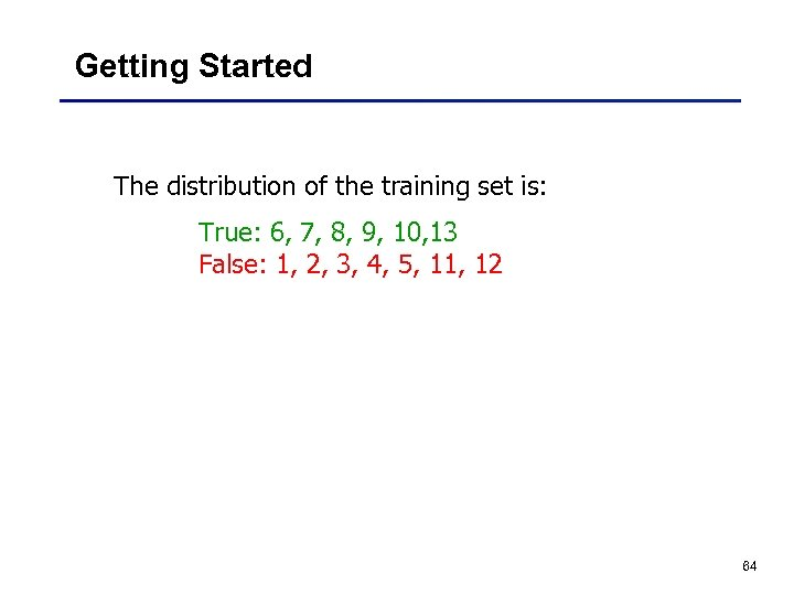 Getting Started The distribution of the training set is: True: 6, 7, 8, 9,