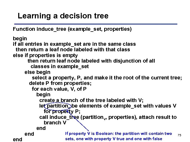 Learning a decision tree Function induce_tree (example_set, properties) begin if all entries in example_set