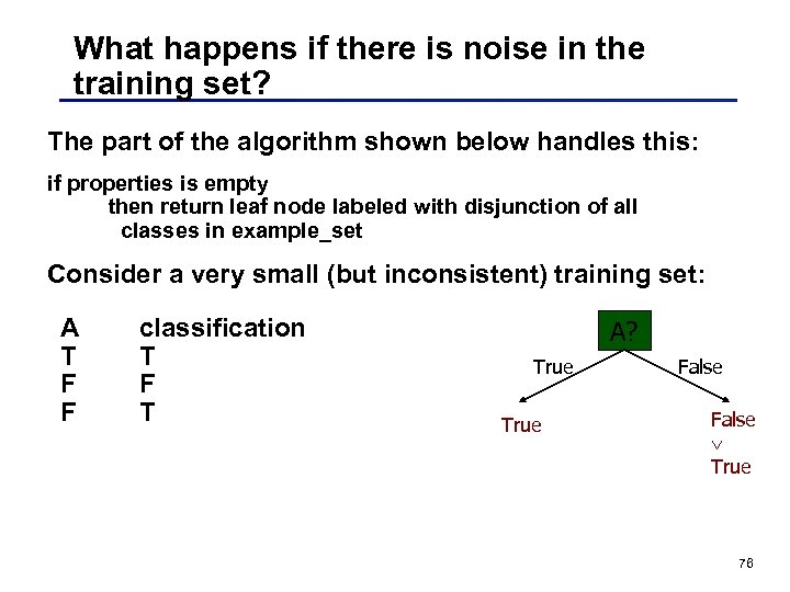 What happens if there is noise in the training set? The part of the