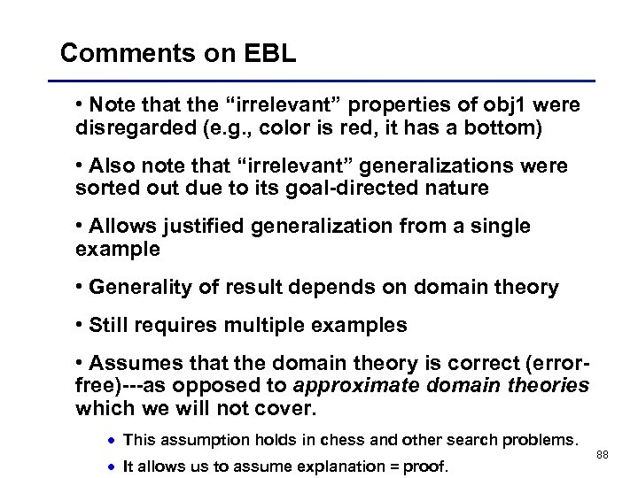"Comments on EBL • Note that the ""irrelevant"" properties of obj 1 were disregarded"