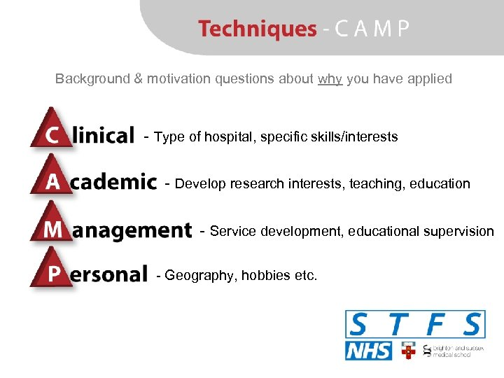 Background & motivation questions about why you have applied - Type of hospital, specific