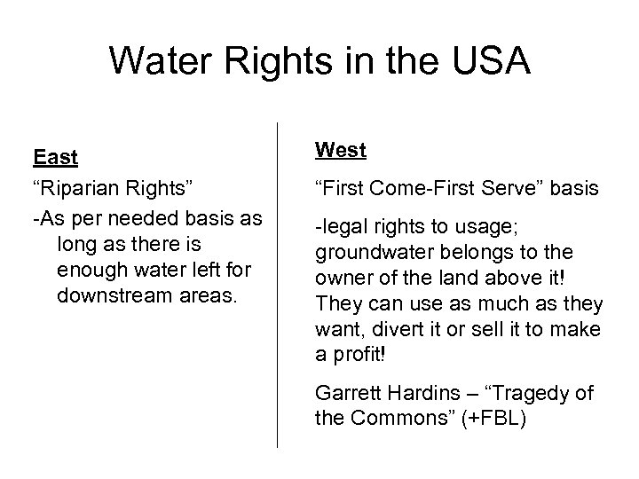 "Water Rights in the USA East ""Riparian Rights"" -As per needed basis as long"
