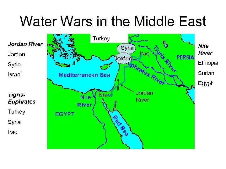 Water Wars in the Middle East Jordan River Turkey Syria Jordan Syria Iraq Nile