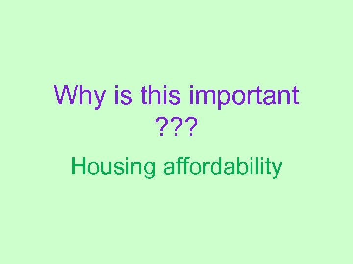 Why is this important ? ? ? Housing affordability