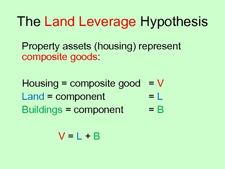 The Land Leverage Hypothesis Property assets (housing) represent composite goods: Housing = composite good