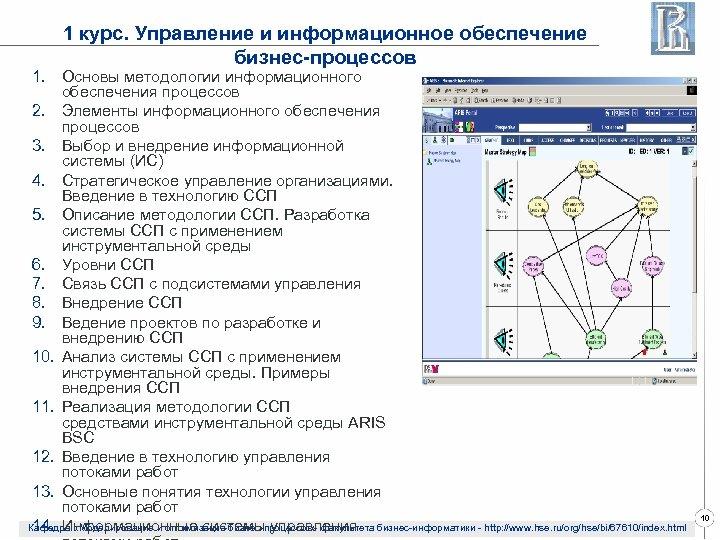 1 курс. Управление и информационное обеспечение бизнес-процессов 1. Основы методологии информационного обеспечения процессов 2.