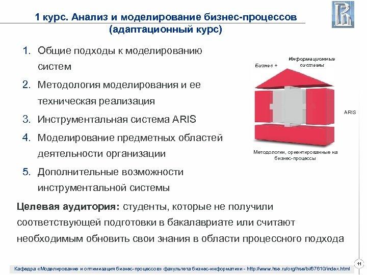 1 курс. Анализ и моделирование бизнес-процессов (адаптационный курс) 1. Общие подходы к моделированию систем