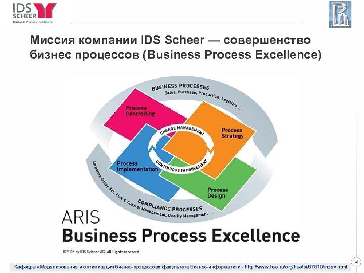 Миссия компании IDS Scheer — совершенство бизнес процессов (Business Process Excellence) Кафедра «Моделирование и