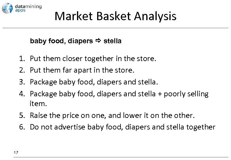Market Basket Analysis baby food, diapers stella 1. 2. 3. 4. Put them closer