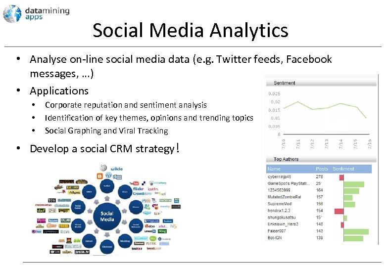 Social Media Analytics • Analyse on-line social media data (e. g. Twitter feeds, Facebook