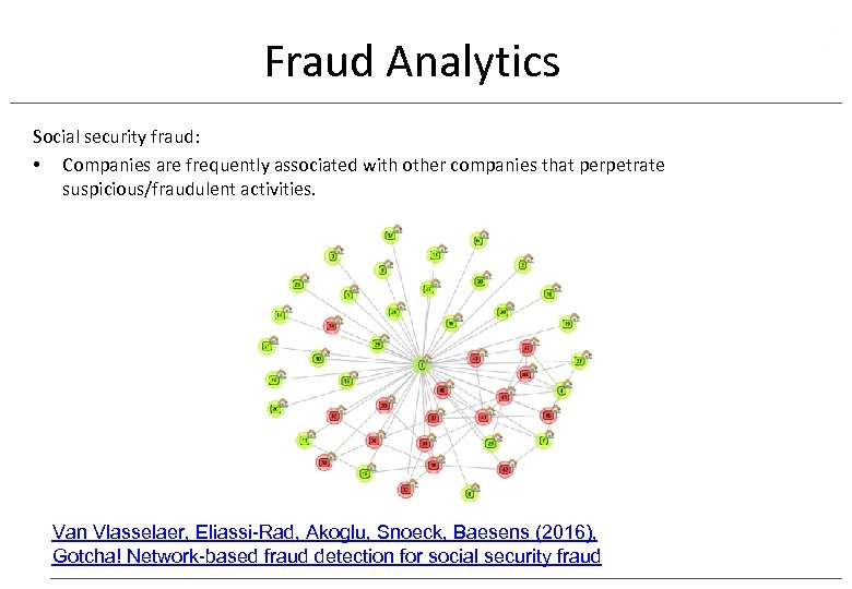 Fraud Analytics Social security fraud: • Companies are frequently associated with other companies that