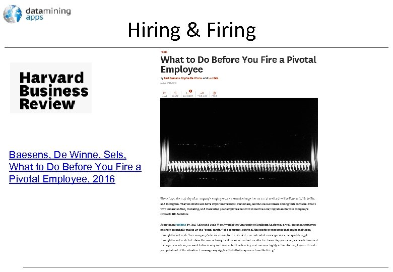Hiring & Firing Baesens, De Winne, Sels, What to Do Before You Fire a