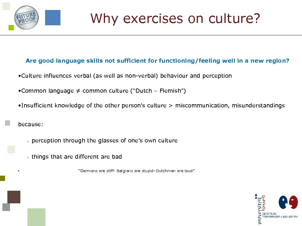 Why exercises on culture? Are good language skills not sufficient for functioning/feeling well in