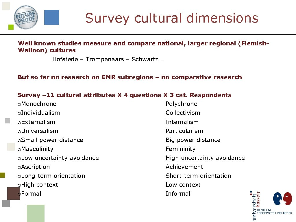 Survey cultural dimensions Well known studies measure and compare national, larger regional (Flemish. Walloon)
