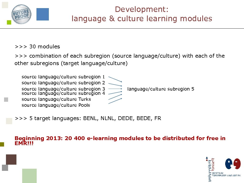 Development: language & culture learning modules >>> 30 modules >>> combination of each subregion