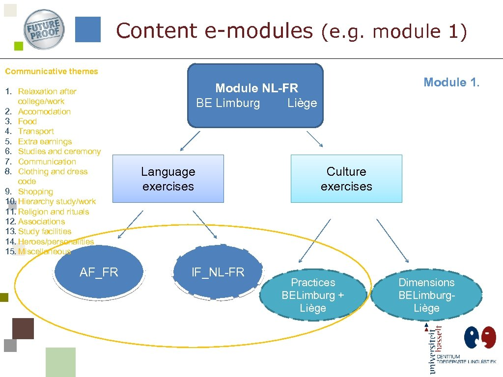 Content e-modules (e. g. module 1) Communicative themes 1. Relaxation after college/work 2. Accomodation