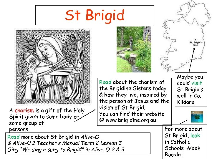 St Brigid Read about the charism of the Brigidine Sisters today & how they